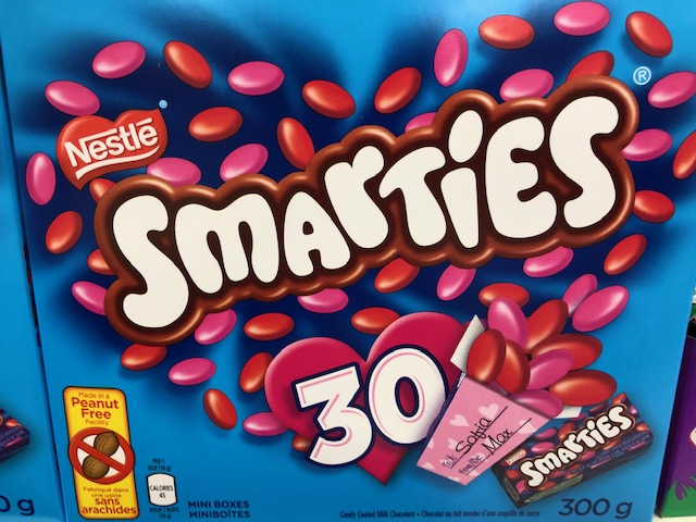 Nestle Smarties in Canada are not gluten free